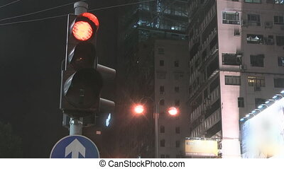 Traffic light on Natan road in Hong Kong
