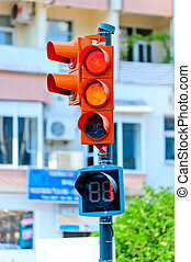 traffic light on the background of a city street