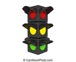 traffic light on white background. Isolated 3D rendered illustration