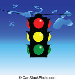 traffic light on wire illustration