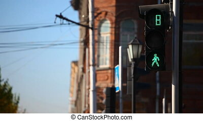 Traffic light. - Pedestrian traffic lights in Novosibirsk.
