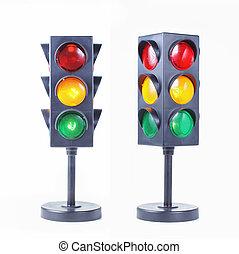 traffic light isolated over white background