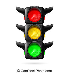 Traffic light - Realistic traffic lights with all three...