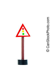 traffic light sign isolated on white background with copy space for text