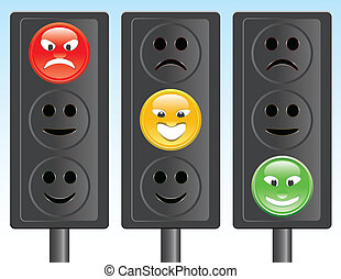 traffic light smiley - set of traffic lights with smiley