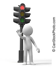 Traffic light - a man stand ,a traffic light behind