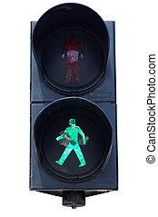 Traffic light - Isolated green pedestrians traffic light