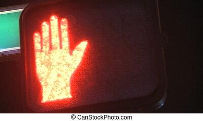 Traffic Light Stop - Red Pedestrian Traffic Light pan shot...