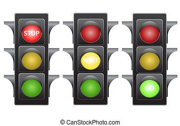 Traffic light stop wait and go stock vector illustration