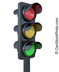 The traffic light on a white background