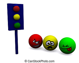 Traffic Light - Three person near traffic light. 3d render.