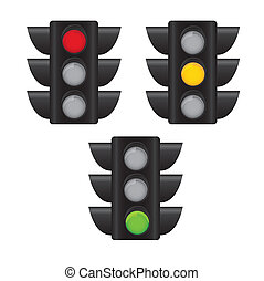 traffic light - three traffics light isolated over white...