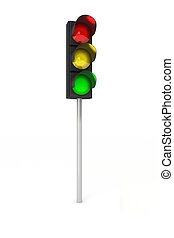 Toy traffic light over white background showing red, yellow and green light