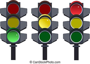 Traffic light, traffic light sequence. Red, yellow, green lights Go, wait, stop. on white background vector illustration