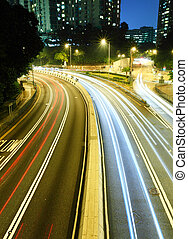 traffic light trails at night
