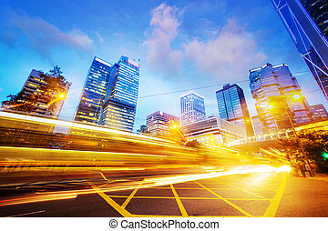 traffic light trails of modern business city