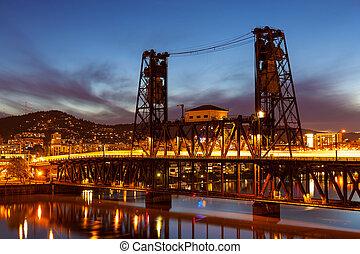 Traffic Light Trails on Steel Bridge