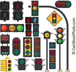 Traffic light vector collection isolate on white