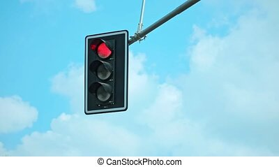 Traffic Light with a Beautiful Blue Sky