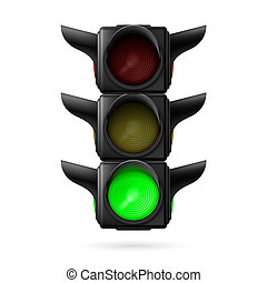 Traffic light with green lamp - Realistic traffic lights...