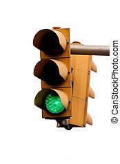 Traffic light with green light. Free travel.