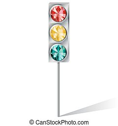 traffic light with precious stones