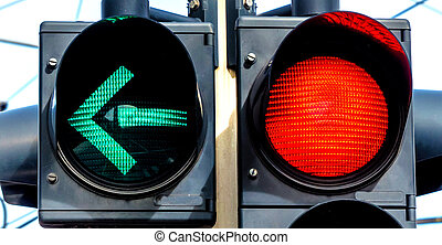traffic light with red light and green light