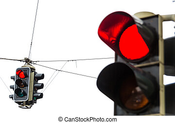 traffic light with red light - a traffic light with red...