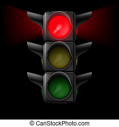 Traffic light with red on - Realistic traffic lights with...