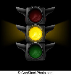 Traffic light with yellow on - Realistic traffic lights with...