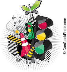 traffic lights - a set of traffic materials