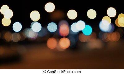 Traffic lights abstract defocused - Defocused night traffic...