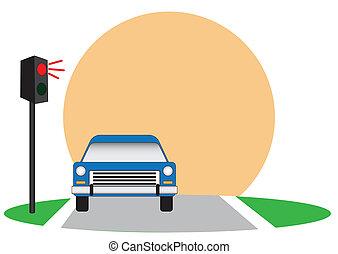 Traffic lights and car