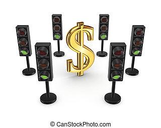 Traffic lights around dollar sign.