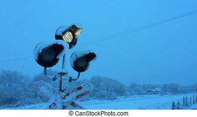 Traffic lights at a railway