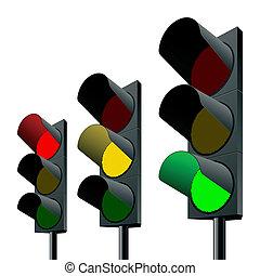 Detailed vector illustration of traffic lights