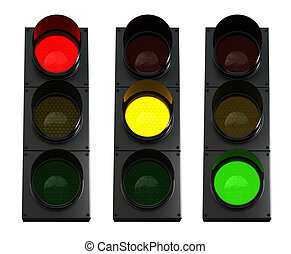 Traffic lights - 3d render of traffic lights isolated over...
