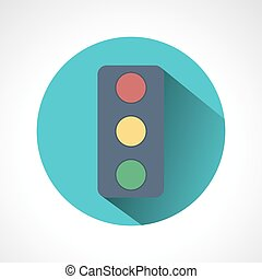 Traffic lights flat icon with long shadow.