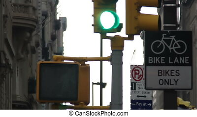 traffic lights in a new york street scene