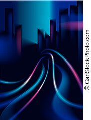 Traffic lights of the night city road, blurred lights. Effect vector beautiful background. Blur colorful dark background with cityscape, buildings silhouettes skyline.