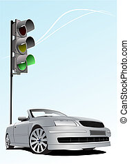 Traffic lights on sky background with silver cabriolet image. Vector illustration