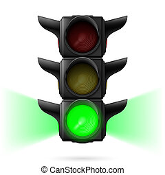 Traffic lights - Realistic traffic lights with green color ...