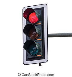 Traffic lights with red color (isolated on white background)