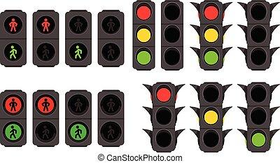 traffic lights set on white