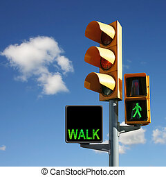 Traffic Lights with Walk and Green Man