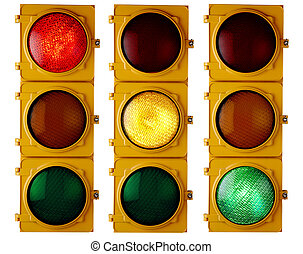 Traffic Lights - Traffic light repeated three times, each...
