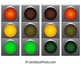Traffic lights signals set.
