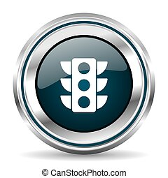 Traffic lights vector icon. Chrome border round web button....