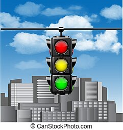 Traffic lights with all three colors on hanging against blue sky with clouds and cities buildings.