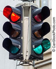 traffic lights with red and green light